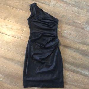 London Times Black Silky One Shoulder Dress 2